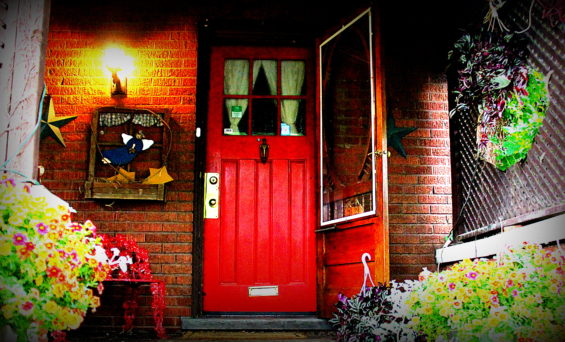 She hides behind the red door… sometimes, she piddles…
